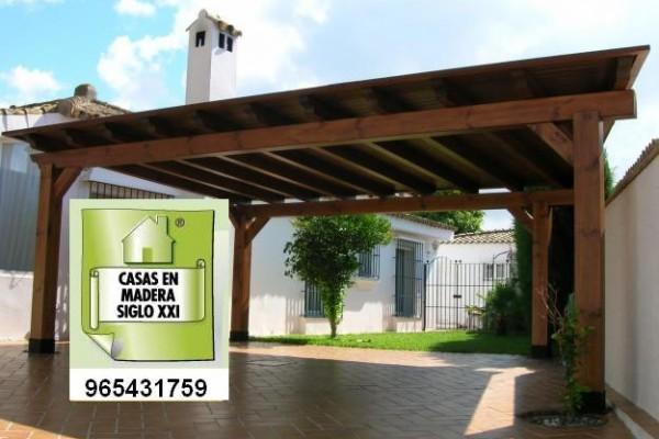P rgolas porches y cenadores en madera siglo xxi casas naturales viviendu - Pergolas de madera para coches ...